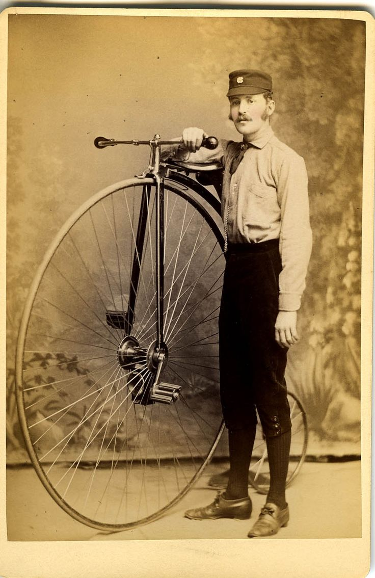 I love these bicycles! Marriott Morris with his High Wheel Bicycle in 1884.