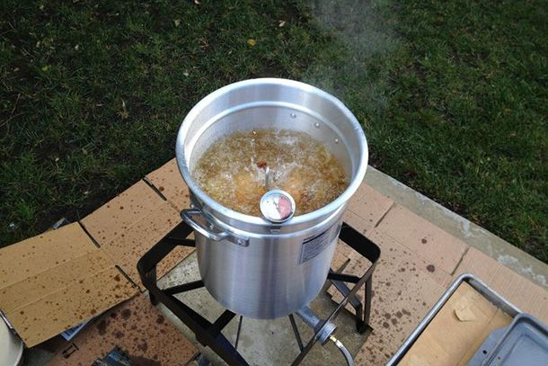 The Best Turkey Fryer | The Bayou Classic 3025 Turkey Fryer Pot with Accessories isn't the fastest fryer we tested (but it's close), and it's large enough to handle a 10- to 12-lb turkey.
