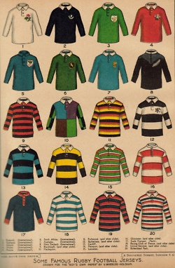International jerseys top two rows, clubs next three. Love Harlequins.