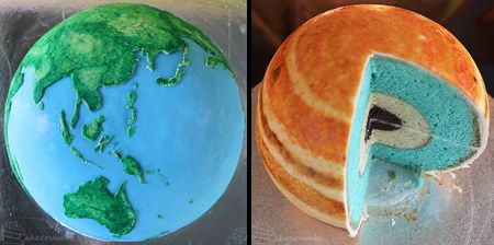 Earth and Jupiter Cakes Designed and made by Rhiannon, the creator of the Super Mario Cake.  Multiple layers represent the core and internal structure of each planet.  Planet cakes were used as learning tools for kids in primary school.