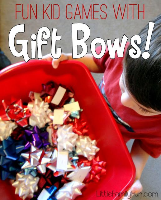 FOUR fun and easy games to play with a bag of bows! Great ways to burn some extra kid energy! Christmas Games.