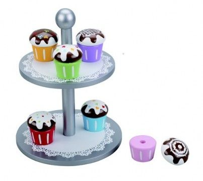 Wooden Cake Stand Six Cupcakes With Interchangeable Toppings