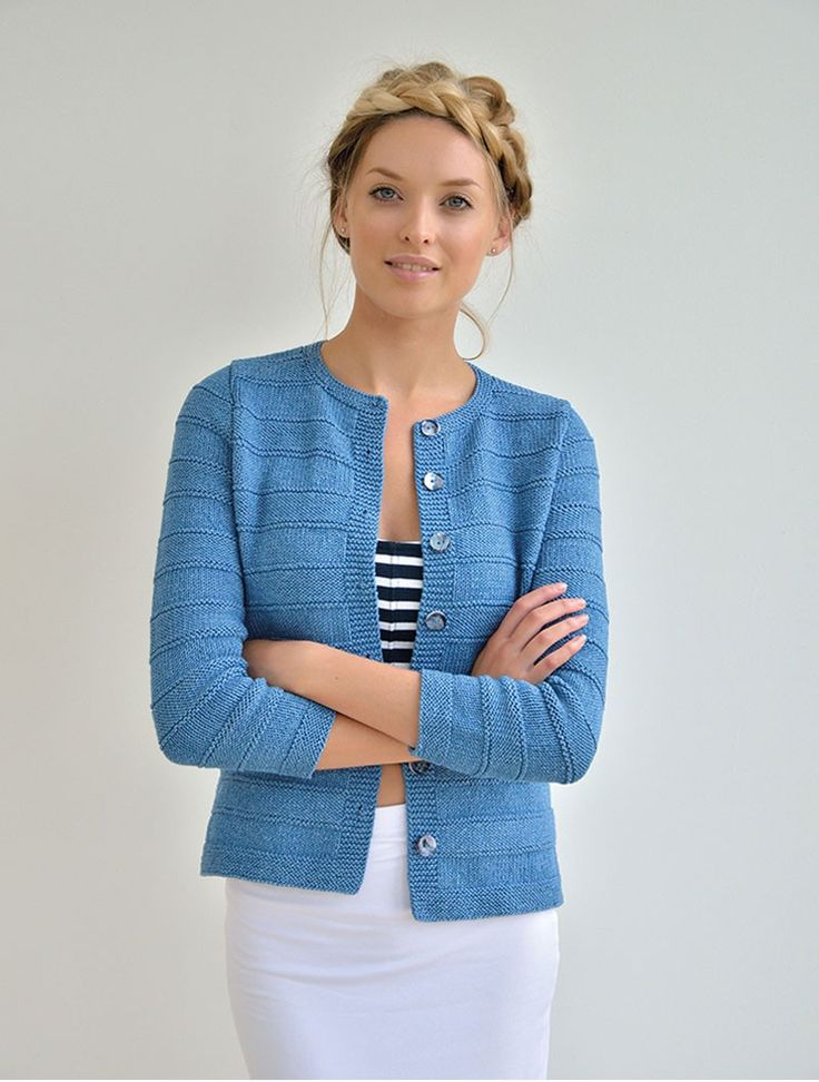 Echoes | Kim Hargreaves DUNE classic cardigan worked in textured shadow stripes Rowan Original Denim/Memphis XS10: S11: M11: L12: XL13: XXL14