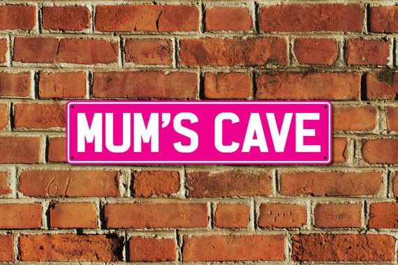 This listing is for one brand new MUMS CAVE metal sign, made of aluminium composite material with full colour printing, created by Doozi.