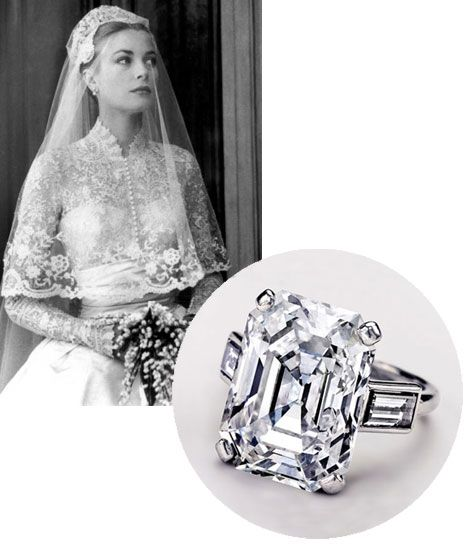 Not only was Grace Kelly and amazing bride in a most beautiful lace gown - the perfect princess, but her engagement ring was also perfect.  An emerald cut diamond is my favourite design ring - perfection.