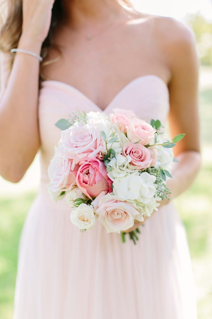 Bridesmaid bouquet with blush garden roses and white hydrangea by The Flower Girl. Photo by Al Gawlik Photography.