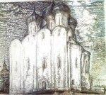 22-Станислав Никиреев - Вологда. Софийский собор, цветные карандаши, 1976