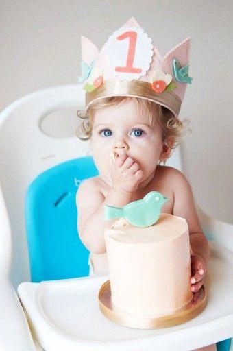 DIY Felt Birthday Crown in ivory with pink roses - birthday crown, handmade felt crown - LoveItSoMuch.com