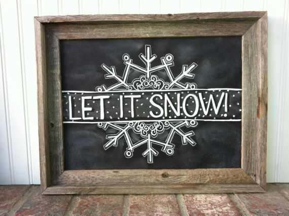 Let it Snow Chalk Art by MainStreetChalk on Etsy, $65.00