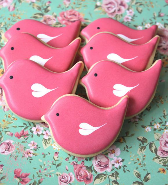 Pink love bird cookies by Miss Biscuit