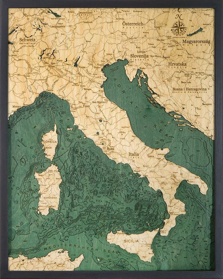 Houston Map Framed%0A Extremely accurate bathymetric map of the Italy and surrounding area  This  three dimensional framed map