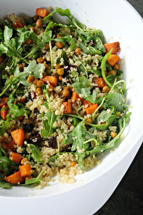 quinoa, rocket, butternut squash, chickpeas & dried cherry salad