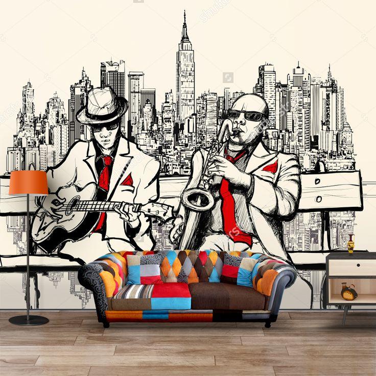 Fotobehang New York muzikanten illustratie | Maak het jezelf eenvoudig en bestel fotobehang voorzien van een lijmlaag bij YouPri om zo gemakkelijk jouw woonruimte een nieuwe stijl te geven. Voor het behangen heb je alleen water nodig! #behang #fotobehang #print #opdruk #afbeelding #diy #behangen #ny #new #york #newyork #illustratie #muzikanten #jazz #muziek #saxofoon #blues #amerika