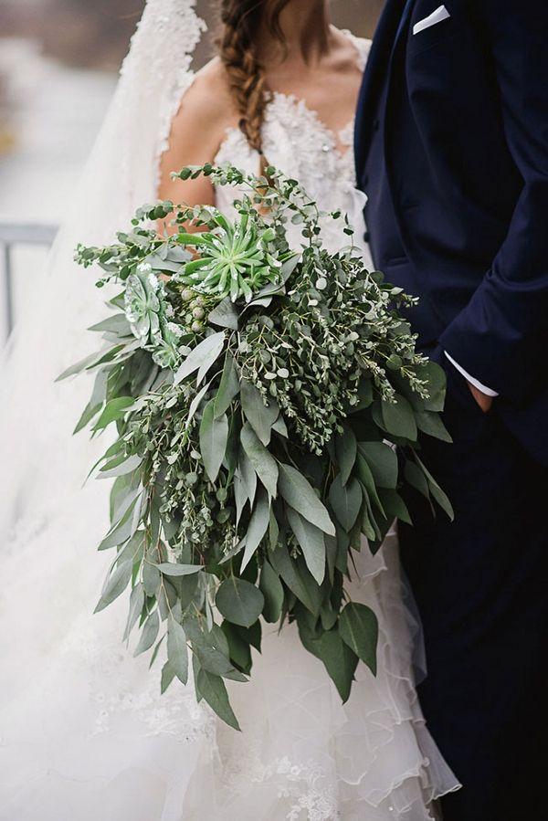 Gorgeous Over-sized Mixed Greenery Bouquet | Wendy Alana Photography on @StorybrdWedding via @aislesociety