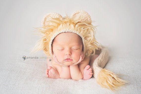 lion bonnet lion prop crochet lion hat baby boy by ThingyThingz