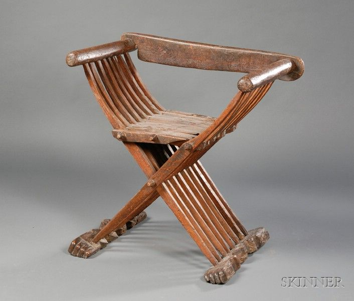 Folding chair, formerly in the Higgins Armory Museum collection.