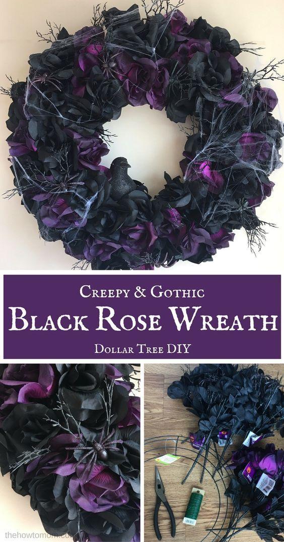 Creepy Black Rose Wreath Halloween DIY (With images