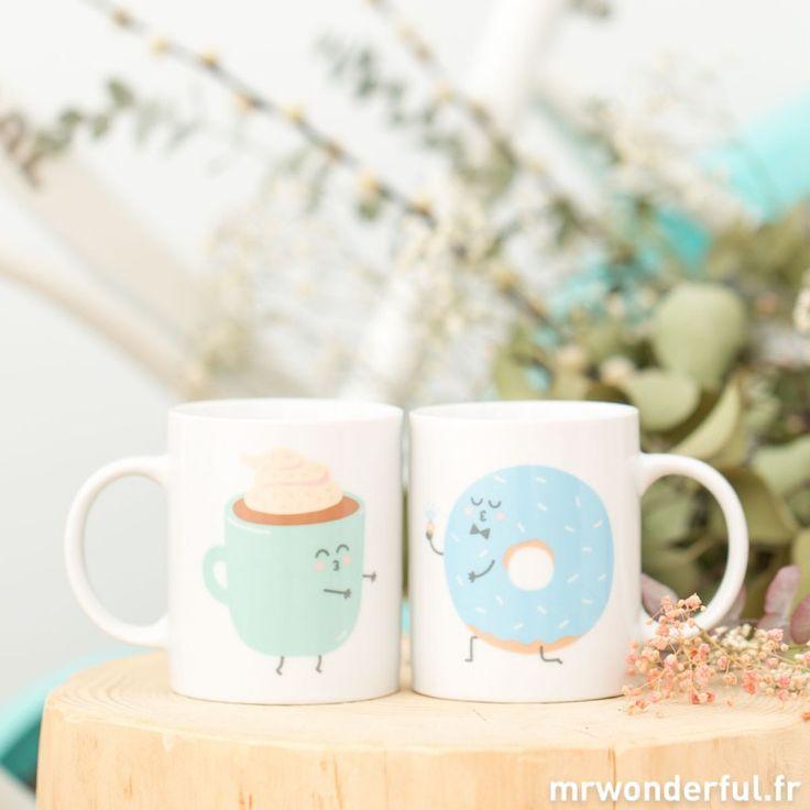 Set de 2 mugs - Ils furent heureux et ils prirent ensembletous leurs petits déjeuners (FR)