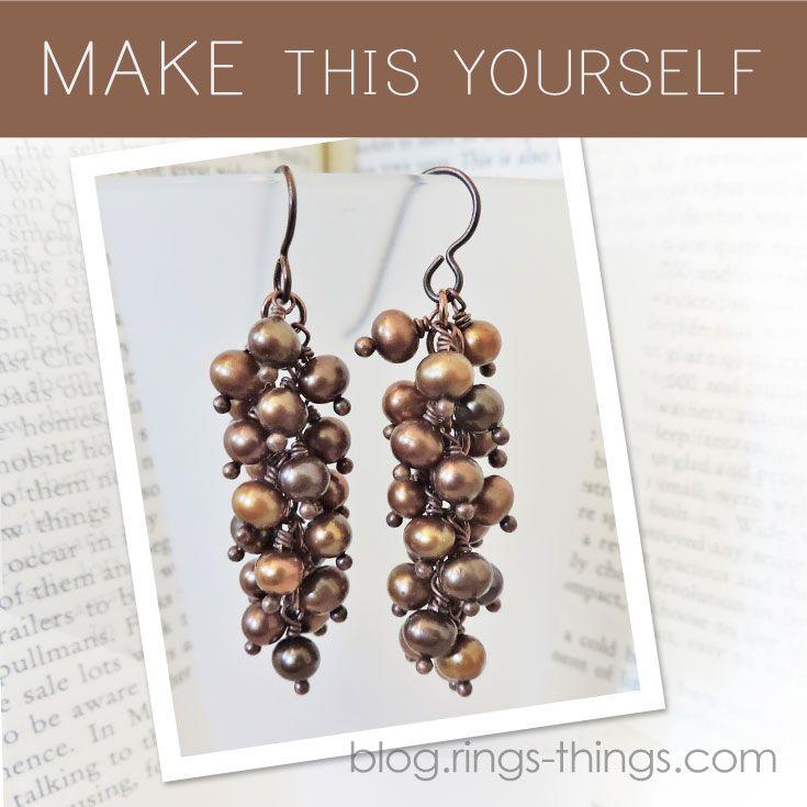 Chocolate Pearl Cluster Earrings Tutorial