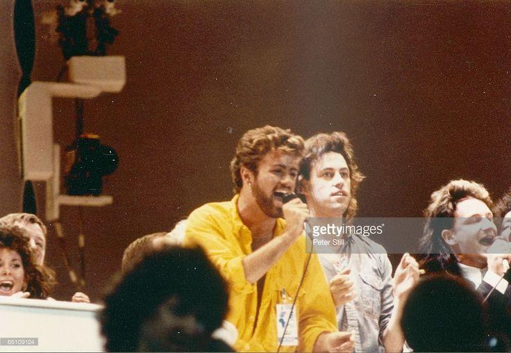WEMBLEY Photo of Bob GELDOF and George MICHAEL and LIVE AID
