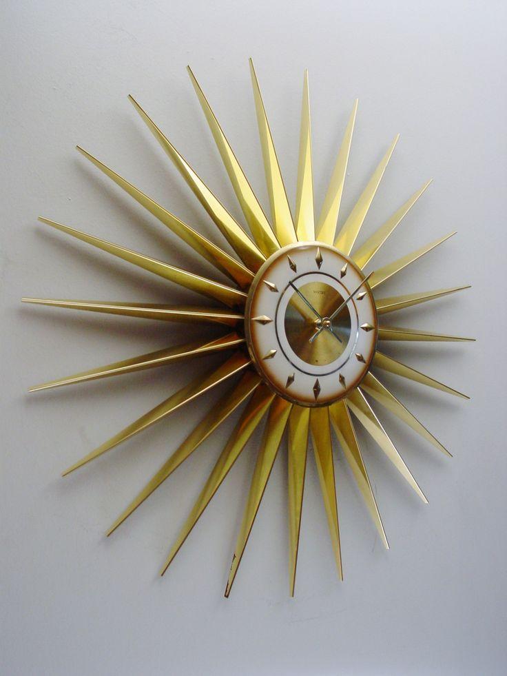 Gleaming 1960s Starburst Clock by Welby - Midcentury modern, Atomic era  Sunburst Clock @ClubModerne