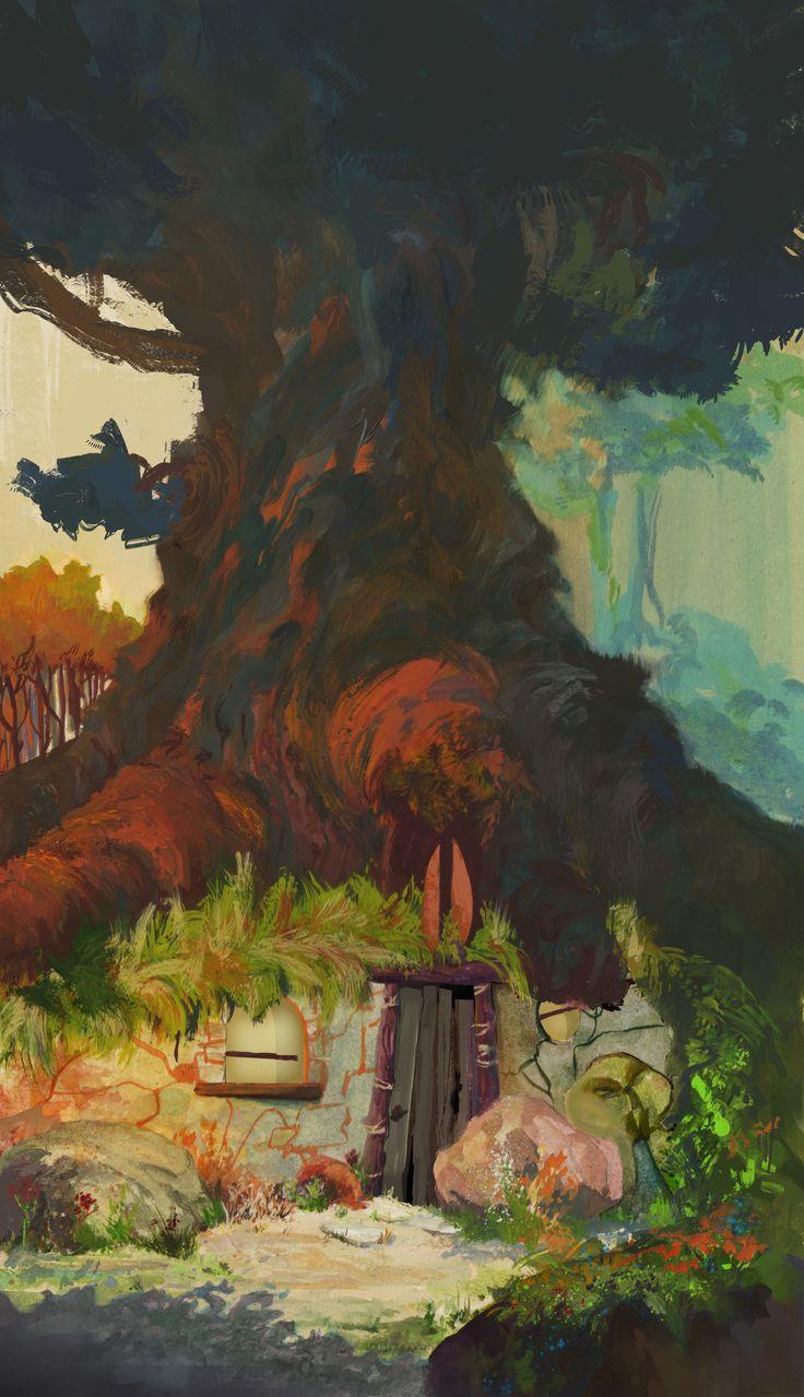 ArtStation - Tree house_ gouache , Heloïse Labbé