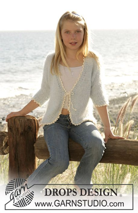 "Drops cardigan knitted in stocking sts with ""Symphony"" and a crochet edge in ""Muskat"". ~ DROPS Design"