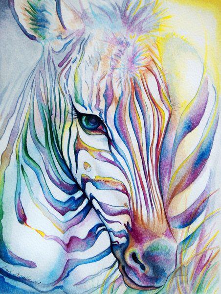 Rainbow Zebra by ladymeow (print image)