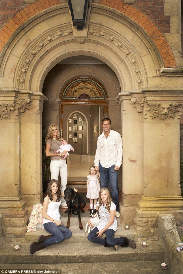Dawn Ward, star of Real Housewives of Cheshire with her family outside their home in Cheshire, they have four daughters: Darby, Charlie, Taylor and Aston