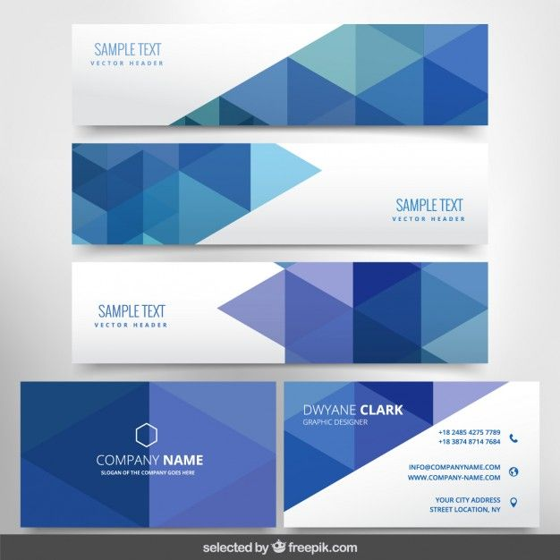Modern business stationery with triangles Free Vector
