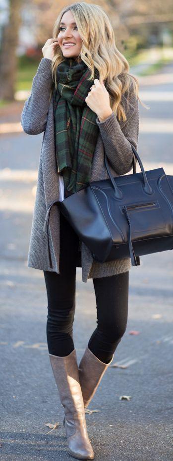 winter fashion gray cardigan green tartan scarf