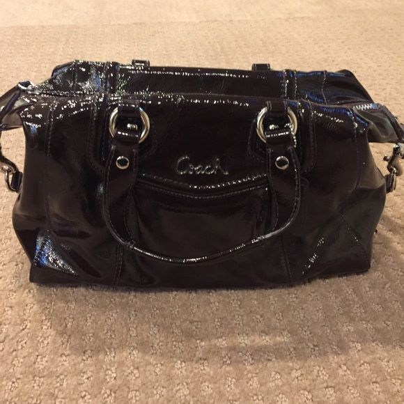 Coach satchel Brown patent leather coach handbag. Excellent condition. Barely used (maybe three times). Tan satin interior. Coach Bags Satchels
