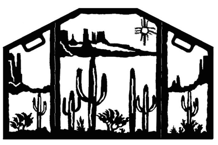 Southwest Desert Scene Decorative Fireplace Screen made of heavy recycled steel by ironwood industries american made southwestern decor fire screen