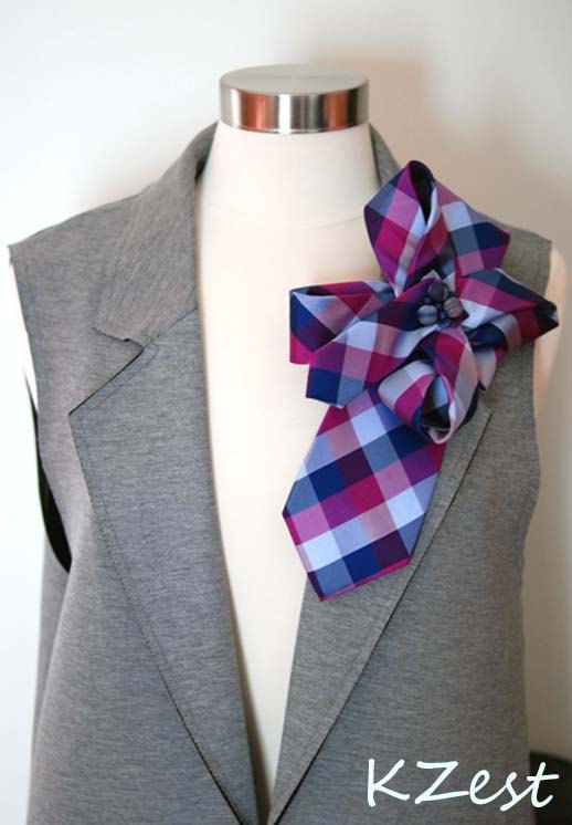 Big Statement Necktie Brooch. 100% Silk. Holiday Fashion