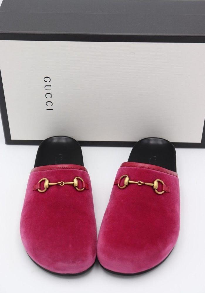 e55f22bda14 NIB Gucci New River Horsebit Pink Velvet Mules Slides Clogs Flats 6.5 36.5   660  Gucci  Clogs