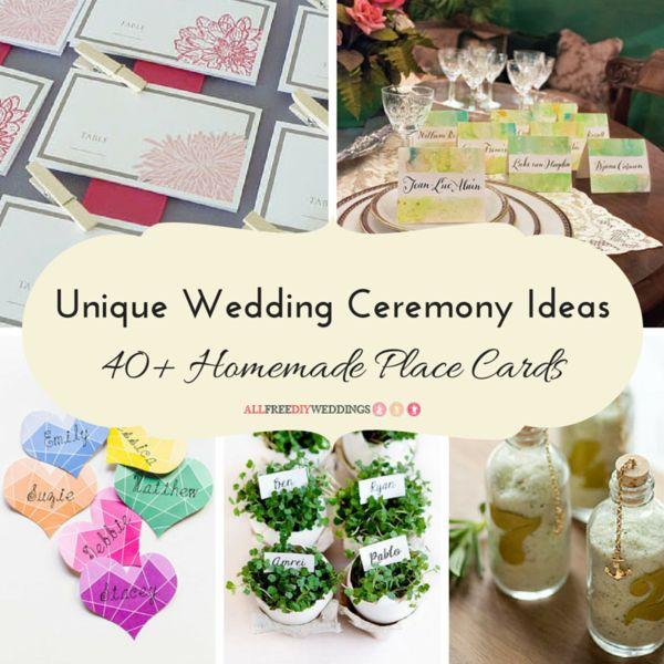 Unique Wedding Ceremony Ideas: 40+ Homemade Place Cards | AllFreeDIYWeddings.com