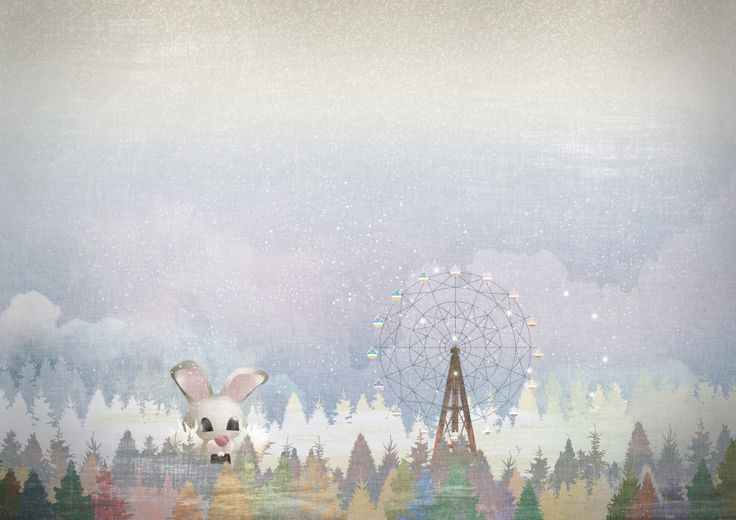 The rabbit building and ferris wheel, illustration, artwork