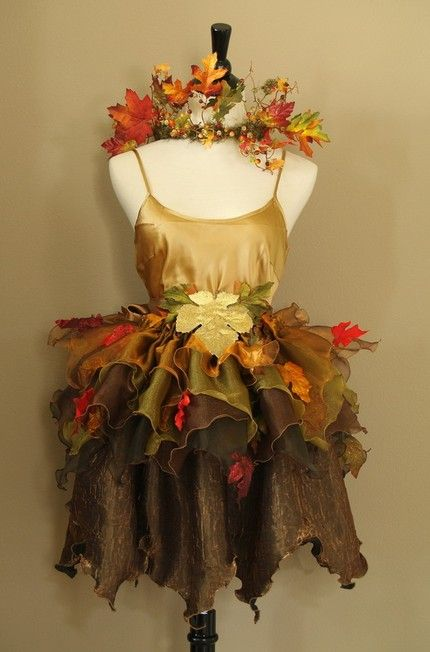 Autumn pixie costume with a dress form - very cute  We sell new and used mannequins and forms at Mannequin Madness so you can create budget friendly window displays like this.