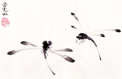 This Dragonfly into a tattoo- Sumi Paintings For Sale- Tai Oi Yee's Chinese Ink Painting Gallery