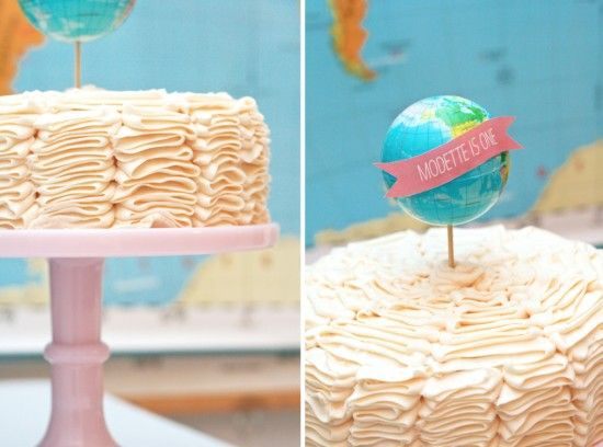 Ruffly Globe Birthday CakeGlobes Birthdaycake, Birthday Parties Ideas, Travel Parties, Travel Cake, Cake Globes, First Birthdays, Birthday Party Ideas, Cake Toppers, Birthday Cakes