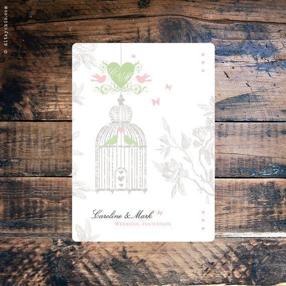 20 Vintage Birdcage Wedding Invitations