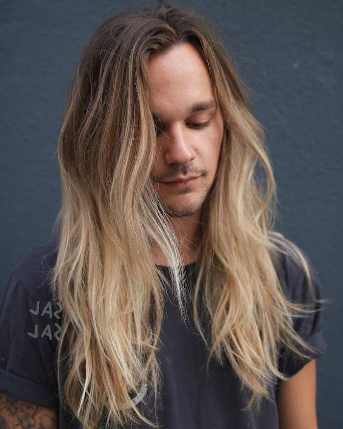 dark-blonde-light-blonde-ombre-long-hair-hairstyles-for-men-with-long-hair-grey-t-shirt  in 2020 | Long hair styles men, Long hair styles, Cool hairstyles