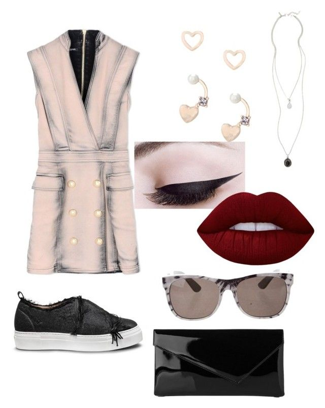 """S.S 18"" by biekatapang on Polyvore featuring Balmain, Calvin Klein, L.K.Bennett, RetroSuperFuture, Lipsy, Topshop and Lime Crime"