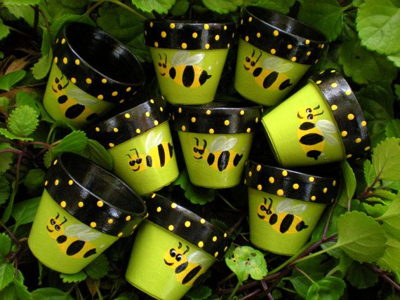 Peint les Pots de fleurs Kids cotillons par HappyMooseGardenArt