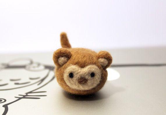 Needle Felted Mini Monkey Plushie Christmas Ornament by CafeDeYume