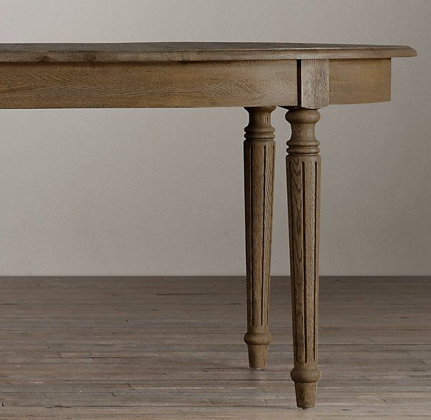 Vintage French Fluted Leg Dining Table From Restoration