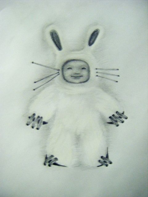 super cute white rabbit tattoo design