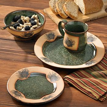 PINECONE DINNERWARE DISHES PINECONE DINNERWARE PATTERN   Country And Rustic  Dinnerware