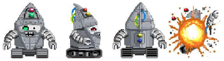 #PixelArt of the Day: The Clash of Gnomes' episode 4 increases in difficulty... You must be afraid of the Robot Gnome!