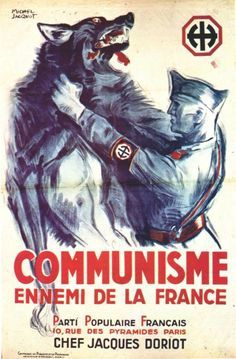 Vichy soldier strangling the communist wolf. france propaganda posters - pin by Paolo Marzioli